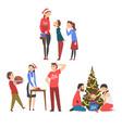 people preparing for winter holidays men women vector image vector image
