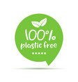 plastic free green icon badge bpa plastic free vector image