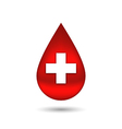 Red blood drop with cross isolated on white vector image vector image
