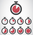 Red stopwatch icon vector image vector image