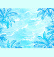 sea waves and palm trees vector image