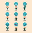 set blue emoticons kawaii characters vector image