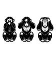 set of three monkeys - hear no see no do not say vector image vector image