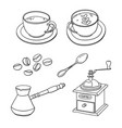 set with cups of coffee coffee beans coffee maker vector image