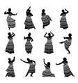 silhouettes indian dancers in mehndi style vector image vector image