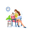 smart girl working at home vector image