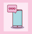 smartphone chat love hearts online dating vector image vector image