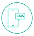 Smartphone with message line icon vector image vector image