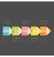Timeline Infographic with colored pencil ribbon vector image