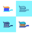 toothbrush with toothpaste icon set in flat and vector image