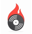 Vinyl with fire logo design vector image vector image