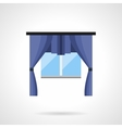 Window with curtains flat color icon vector image