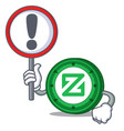 With sign zcoin character cartoon style vector image