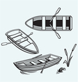 Wooden boat with paddles vector image