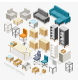 Furniture Isometric icons vector image