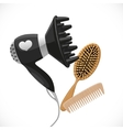 Hair dryer with diffuser and combs vector image