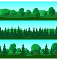 Horizontal cartoon banners of hills and trees vector image