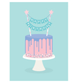 Birthday cake with frosting and decoration vector image