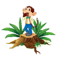 A male monkey above a stump vector image vector image