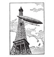 airship is rounding the eiffel tower gas bags vector image vector image