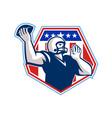American Football Quarterback Shield vector image vector image