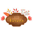 autumn wooden board with text place vector image vector image