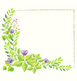background template with flowers and leaves vector image vector image