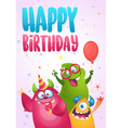 Birthday card with cute funny monsters