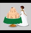 bride near pink wedding cake vector image vector image