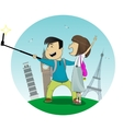 Cartoon boy and girl posing together making selfie vector image vector image