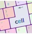 cell word on keyboard key notebook computer vector image vector image