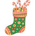 christmas boot doodle art vector image vector image