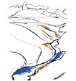 contours of the mountains engraving vector image