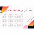 creative abstract 2019 calendar design vector image vector image