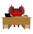devil of workplace satan boss sitting in office vector image vector image