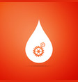 drop with gears icon isolated on orange background vector image vector image