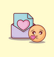 emoticon kiss love message online dating vector image vector image