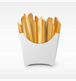 fast food white paper french fries take away box vector image vector image