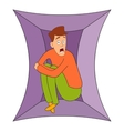 Fear of closed spaces icon cartoon style