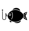 fishing 2 - fish icon blac vector image vector image