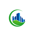 green leaf building ecology environment logo vector image vector image