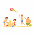 happy children on beach - cartoon people vector image