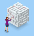 isometric maze labyrinth solution business team vector image vector image
