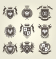 medieval royal coat of arms and heraldic emblems vector image vector image