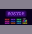 neon name of boston city vector image