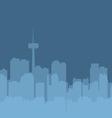 Original contour of the big city on a blue vector image