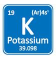 periodic table element potassium icon vector image vector image