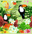 seamless pattern with tropical flowers and birds vector image
