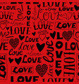 seamless pattern with words love hearts and vector image vector image