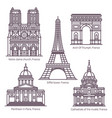 set line isolated french sightseeing landmarks vector image